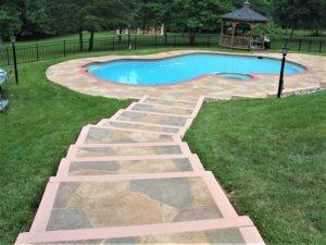 stamped concrete pool deck pathway nashville